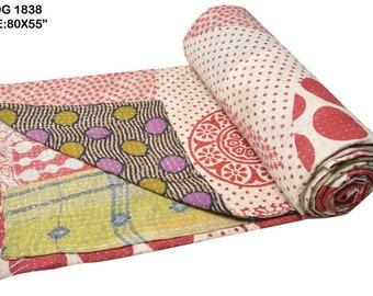 Vintage Heavy Kantha Quilt Gudri Reversible Throw Ralli Bedspread Bedding India OG1838