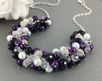 Bridesmaid Jewelry Black Purple White Cluster Necklace Purple and Black Necklace Bridesmaids Necklace Pearl Jewelry