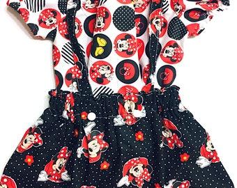 Minnie Mouse, Suspender dress, minnie dress, baby girl, two piece, girls clothes, suspender, suspender dress, birthday outfit, boho