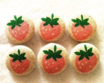 Pink Strawberry Fabric Cover Button Sew Shank Decoration Diy Accessories 0.62in Size