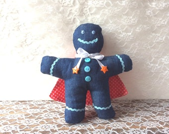 Denim Gingerbread man with red cape