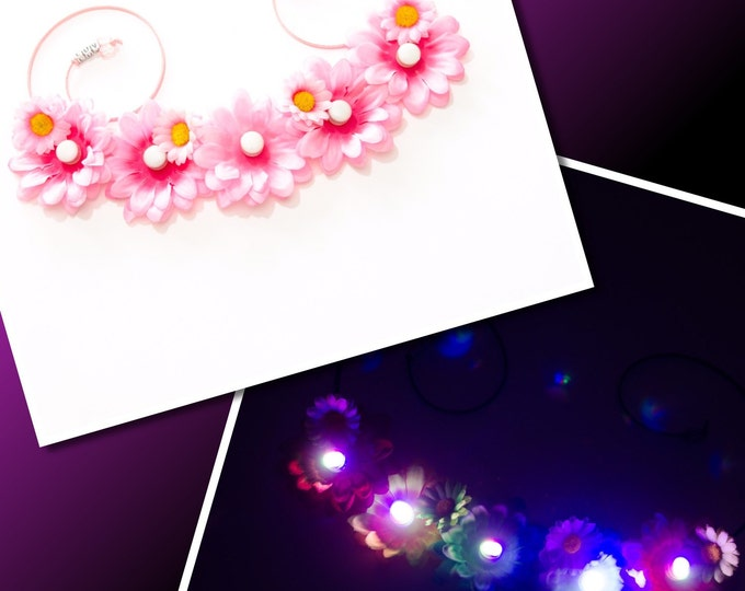 Pink Daisy LED Flower Crown