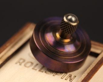 Precision  Titanium spinning top ~ RollSpin (kickstarter) ~ Birthday gift ~ Fidget toy Titanium ~ EDC Pocket top
