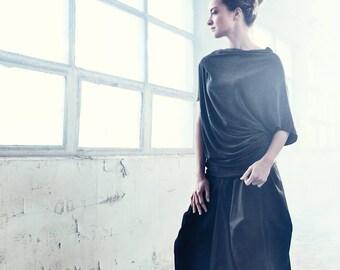 Asymmetrical Blouse / Casual Charcoal Melange Blouse / Handmade Top / Yogawear / Short Sleeved Bonded Top/Drape Boatneck Blouse by AryaSense
