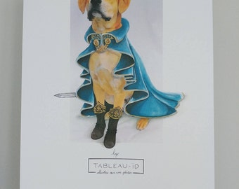 SO Majesty dog portrait royal dog, reproduction of photo by tableauid print signed and dated painting displays with animal