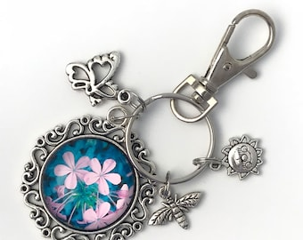 Flowers, Butterfly, Bee, and SunFace Key Ring, Key Chain