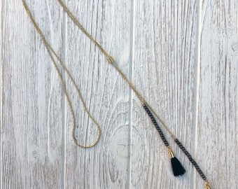 Gold and Black Tassel Lariat Necklace