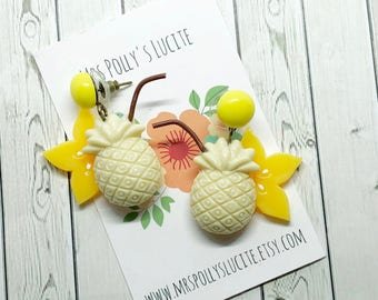Pineapple Party earrings  - Celluloid inspired - Fakelite -