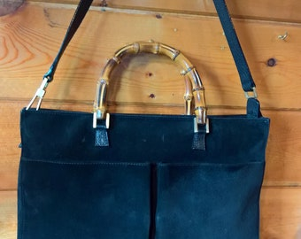 Vintage Gucci Black Suede Bamboo Handled handbag