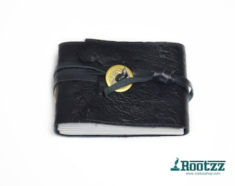 Leather journal pocket size black - journal - diary - travelbook- notebook -