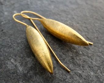 Gold Earrings, Brushed Gold Earrings, Gold Drops, Modern Earrings, Minimalist Earrings, Everyday Earrings, Gold Vermeil