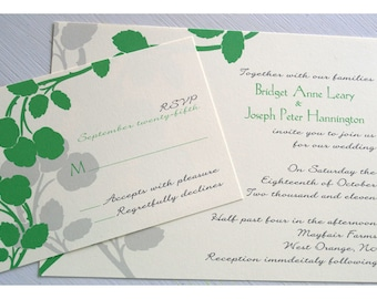 Sample Wedding Invitation with Apple Blossom Flowers