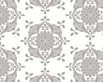Fat Quarter - Priscilla Wallpaper Gray  Fat Quarter Riley Blake Designs