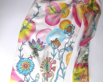 Painted silk scarf Sheer scarf Gift for mom Neck silk scarf Hand painted silk scarf Rainbow Lightweight scarf Batik scarf Gift for women