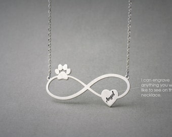 Personalised INFINITY PAW HEART Necklace - Paw Heart Jewelry - Name Necklace - Custom Necklace - New Puppy - Dog Necklace - Cat Necklace
