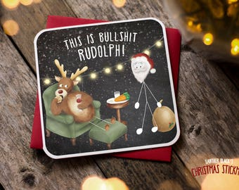 Funny Christmas Card / Christmas Card / Funny Holiday Card / Funny Rudolph Card / Mince Pies / Christmas Stickman / XS13