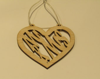 MR & Mrs Hanging Heart, wedding gift, Bride and Groom, plywood laser cut.