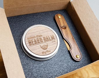 Multi-tool Beard Kit with Wood Combs, Beard Balm, and Balm Knife - Grooming Set - Gifts for Men - Father's Day - The Trio