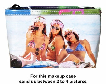 SMALL custom makeup case with your pictures printed on it - FREE SHIPPING, gift gifts for mom girlfriend her custom customized personalized