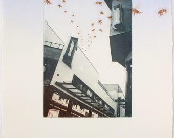 Exeter Portfolio. Lynn Bailey Urban Bees in Princesshay. Drypoint and photo etching