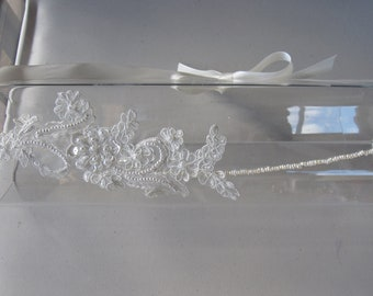 White Beaded Lace Flower Pearl Halo Headband with Ivory Satin Ribbon Tie, for Bridal, weddings, special occasions