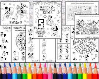 Personalized Mickey Mouse Party coloring pages, PDF file - NOT instant download!