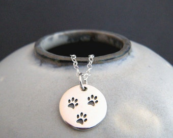 small silver paw print necklace. 3 three etched paws. sterling pet pride pendant gift animal love charm simple pawprint dog cat jewelry 1/2""