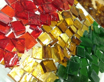 150 CHRISTMAS RED GOLD & Green - Holiday Mix Mosaic Tile Supply B38