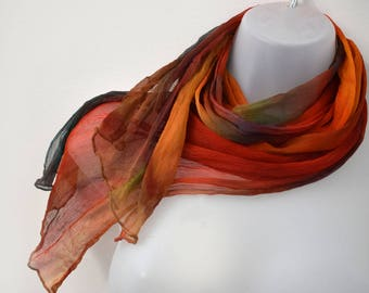 Crinkle Silk Ciffon Scarf, Colorful Hand-Painted, Multi-Colored Perfect For Fall and Beyond