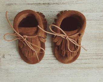 Brown Suede Leather Moccasin Boots, Baby Moccasins, Toddler Moccasins, Leather Moccassins, Baby Boots