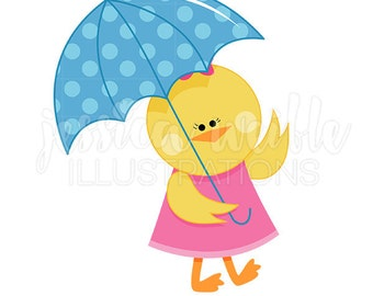Chick with Umbrella Cute Digital Clipart, Spring Rainy Day Clip art, Cute girl chick with an umbrella Graphic, Spring Illustration, #043