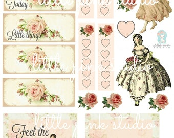 Feel the Beauty of Today, printable planner sticker sheet, vintage style, vintage ephemera