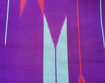 "Antique Japanese purple silk kimono fabric 92 cm x 36 cm geometric arrows  36"" x 14"""