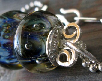 Artisan glass boro bead pendant necklace.  Sterling silver with 2mm ball chain and handmade clasp.  Wish...