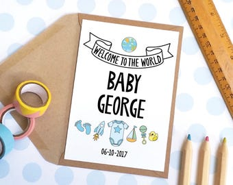 New Baby Card / Baby Congratulations Card / New Arrival / Personalised Greetings Card: Welcome To The World