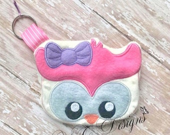Owl Coin Purse Owl ith Bag DIGITAL EMBROIDERY FILE