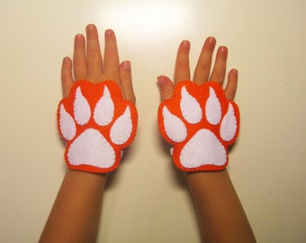 Fox felt cuffs 2 pcs - orange white - handmade costume accessory for boy girl kids adults - dress up play Photo booth props Theatre roleplay