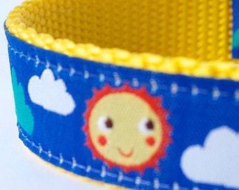 Oh Happy Day Dog Collar, Sunshine Clouds Dog Collar, Rainbow Pet Collar