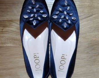 """Satin shoes ballerinas, flat shoes, with strass/rhinestone, by """"Joop"""" Black evening-shoes, size 39 (EUR), 8.5 (US), 6 (UK)"""