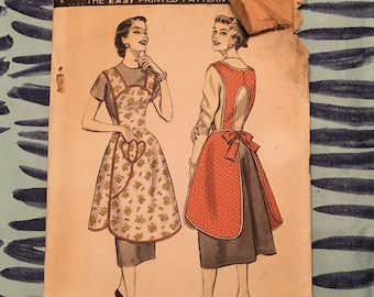 1950'S Advance Sewing Pattern 7812 Misses Full Smock Apron Pattern - apron pattern , 1950s apron, smock pattern