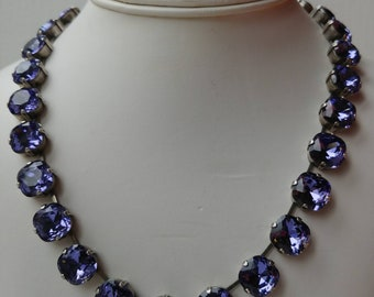 Violet crystal collet Necklace, Anna Wintour Necklace,Riviere Necklace, Georgian Paste choker,regency Jewelry,cushion cut lilac rhinestone