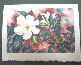 Magnolia, Note Card, Magnolia print, 5 x 7, Flower art, Maroon, magenta, Southern, Greeting card