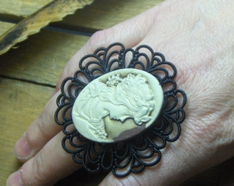 LADY of The HINTERLAND. Coffee & Cream Cameo and filigree Lucite backdrop Gothic Boho Handmade OOak Ring