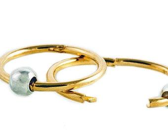 12mm - 22K Gold Over Sterling Silver Hinged Hoop Earrings w/ Silver Beads