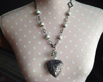 "Puffy Heart; Beaded Necklace; Thrifted Jewelry; Assemblage Jewelry; ""Wild Heart"""