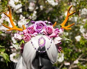 Purple fairy antlers flower festival crown cosplay headdress