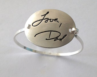 Father to Daughter Gift - Your Actual Writing Oval Silver Tension Bracelet  - Made to Order