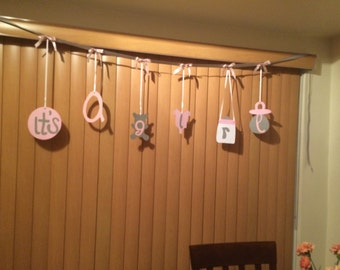 Its a Girl Baby Shower Ribbon Banner