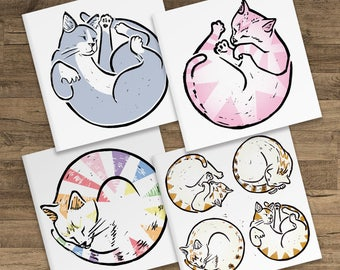 4 Set Pack of Cute Cat Blank Greeting Cards - Ginger Cat Circles, Pink Cat, Rainbow unicorn Cat and Grey Cat Circles