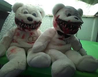 Scary Toothy Teddy Bears Wedding Couple!